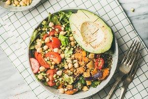 Vegan bowl with avocado, grains