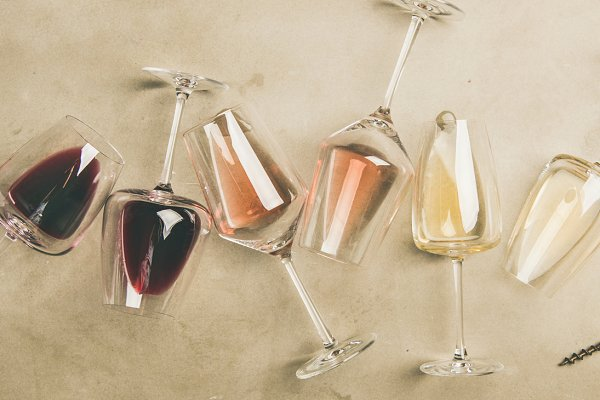 Different wines in glasses and
