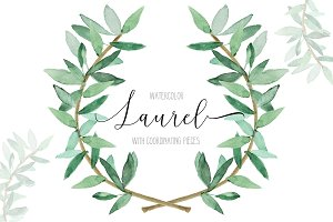 Watercolor Greenery Laurel Set