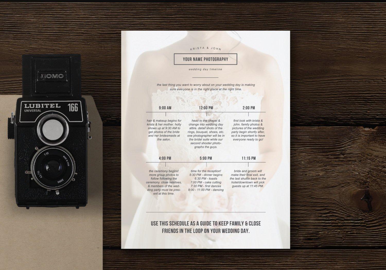 Wedding day schedule template flyer templates creative market junglespirit Images