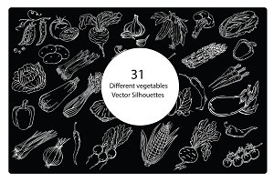 Silhouettes of different vegetables