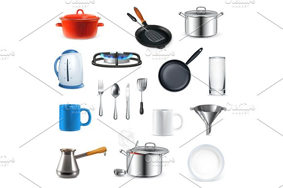 Kitchen utensils icons in Objects