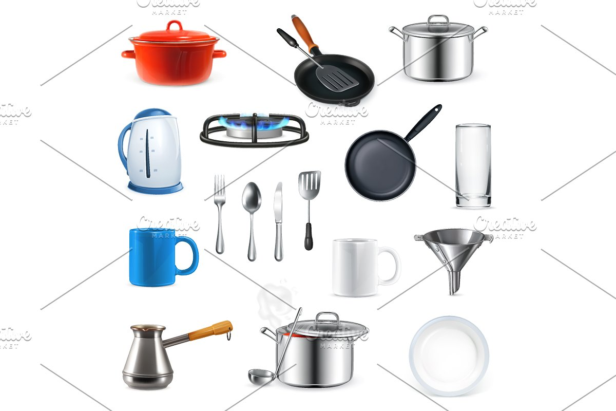 Kitchen utensils icons in Objects - product preview 8