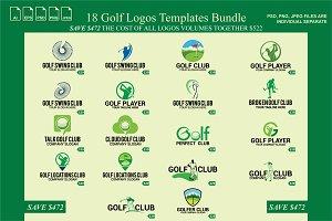 18 Golf Logos Templates Bundle