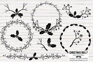 Black Holly Vectors & Holly Clipart