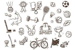 Hand drawn sport doodle set +bonus