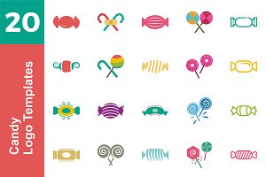 20 Logo Candy Templates Bundle