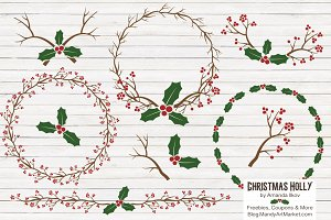 Christmas Holly Vectors & Papers