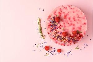 Delicious raspberry cake with fresh