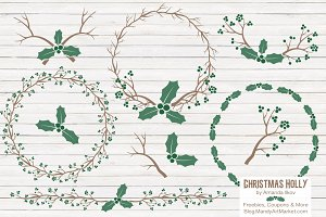 Emerald Holly Wreaths & Backgrounds