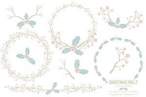 Pastel Christmas Holly & Backgrounds