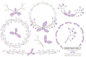 Lavender Holly Wreaths & Branches
