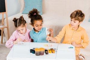 beautiful multiethnic children drawi