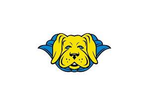 Super Yellow Lab Dog Wearing Blue Ca