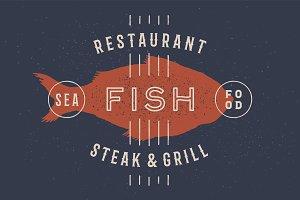 Fish, seafood. Vintage icon fish