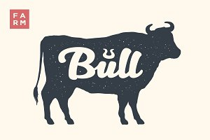 Farm animals set. Isolated bull