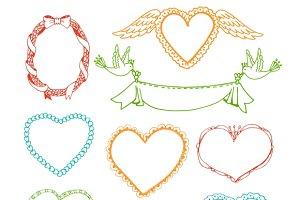 Doodle hand drawn heart shape frames