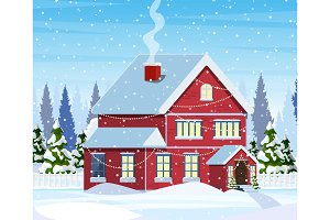 Christmas landscape background with