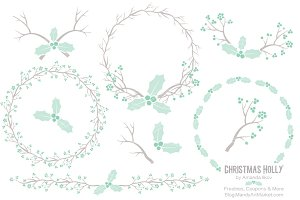 Mint Holly Wreath Clipart & Papers