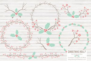 Mint & Coral Holly Christmas Vectors
