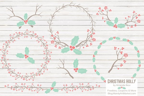 Mint & Coral Holly Christmas Vector…