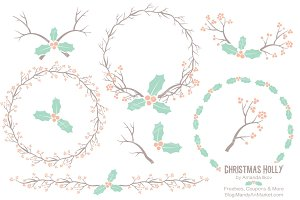 Mint & Peach Holly Clipart & Vectors