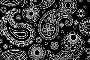 Seamless Paisley Black Pattern