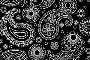 Seamless Paisley Black Pattern