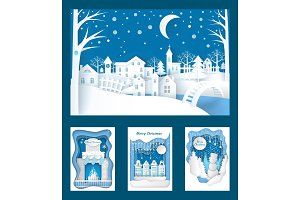 Merry Christmas Paper Cuts of Town