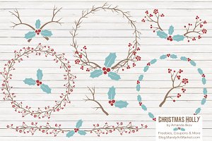 Red & Blue Christmas Holly Clipart