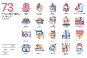 73 Construction Rounded Icons