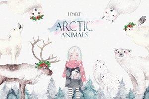 ARCTIC ANIMALS watercolor set PART 1