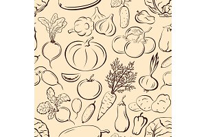 Seamless, Vegetables Pictograms