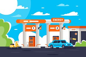 Gas station with shop