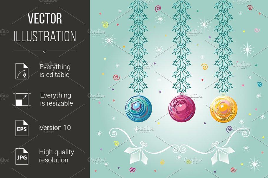 Three Christmas-tree balls