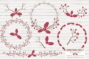 Red Holly Branches & Wreaths