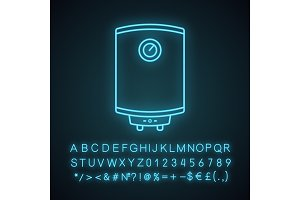 Electric water heater neon icon