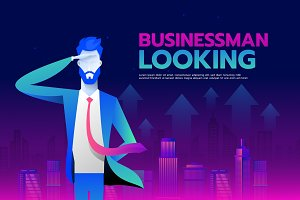 Businessman with looking forward to