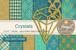 Crystals Digital Papers & Clipart