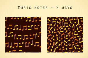 Golden musical notes patterns set