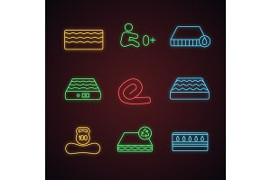 Mattress neon light icons set