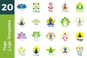 20 Logo Yoga Templates Bundle