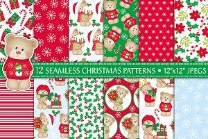 Christmas Bear Digital Paper