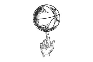 Basketball spinning on finger vector