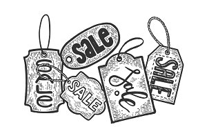 Sale tag label engraving vector