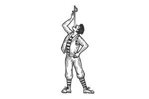Sword swallowing performer vector