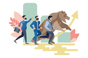 Businessmen and bear run vector