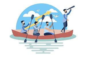 Team work on boat illustration