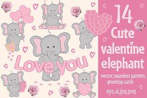 сute valentine elephant