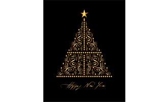 Christmas tree card with ornament de